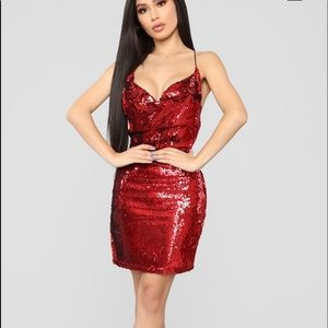 Fashion Nova Red Sequin Dress